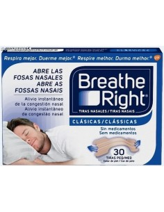 Breathe right tiras nasales clásicas 30 unidades grandes