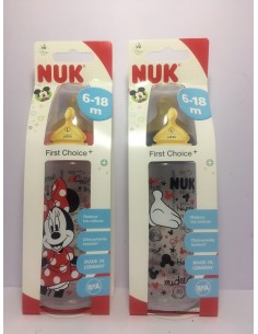 Nuk biberón First Choice Mickey Mouse tetina látex talla L 300 ml 6-18m
