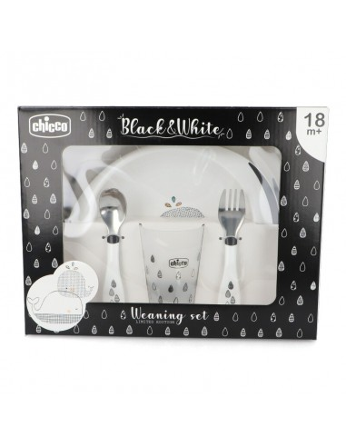 Chicco black & white set de comida...